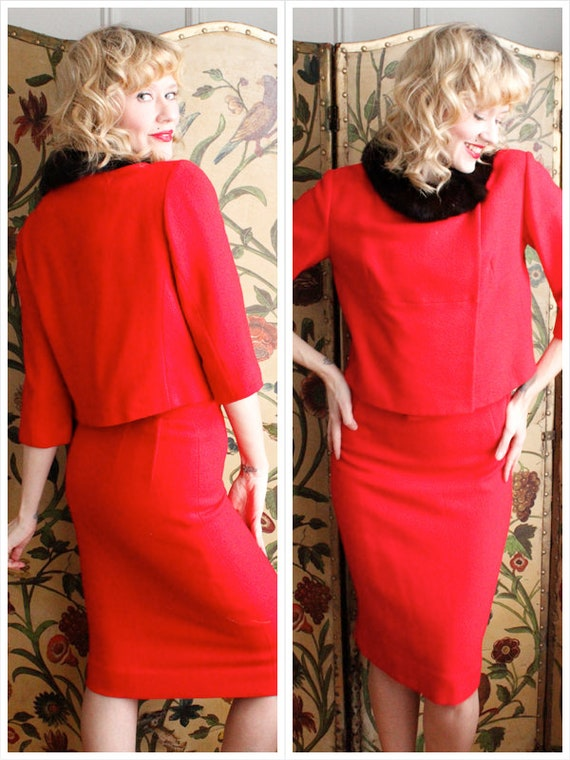 Early 1960s Suit // Ruby Red Lilli Ann 2pc Suit //