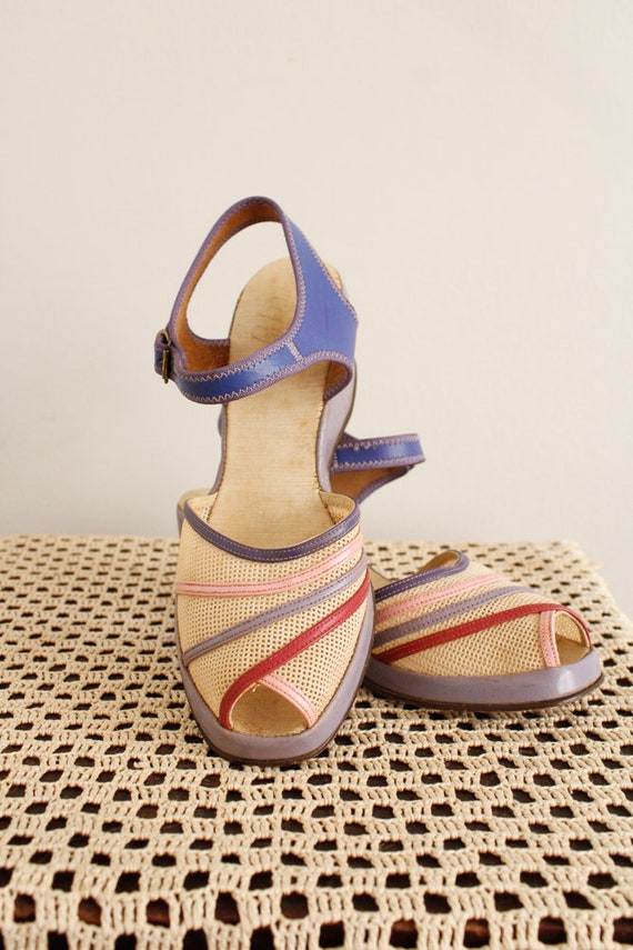 1940s Wedges // Summer Woven Sandals // vintage 4… - image 2