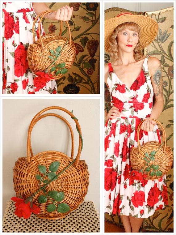 1950s Purse // Rose Basket Purse // vintage 50s pu