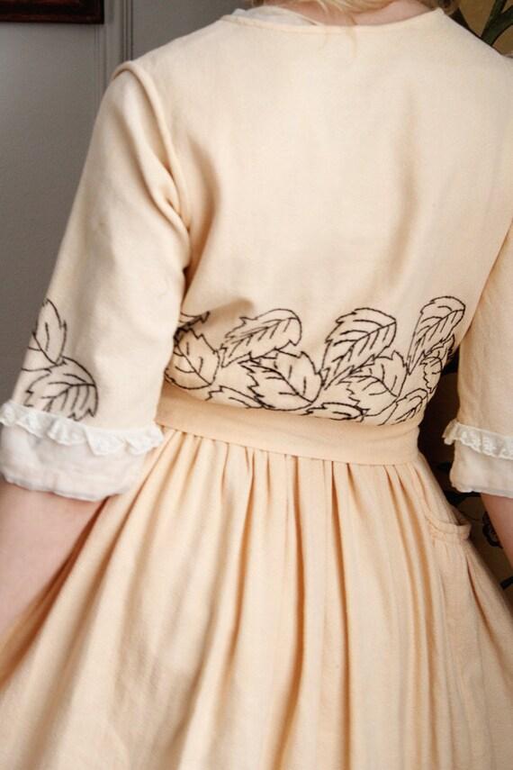 1910s Dress // Edwardian Embroidered Leaf Dress /… - image 9