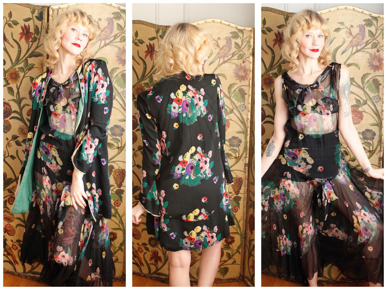 Vintage Scarf Styles -1920s to 1960s 1920S Dress Set  Bohemian Floral Silk  Jacket Vintage 20S Dress $625.00 AT vintagedancer.com