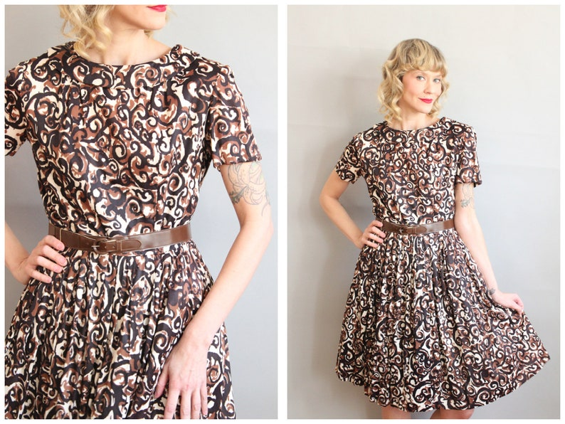 Late 1950s/Early 1960s Dress // Sundae Swirl Jersey Dress // image 0