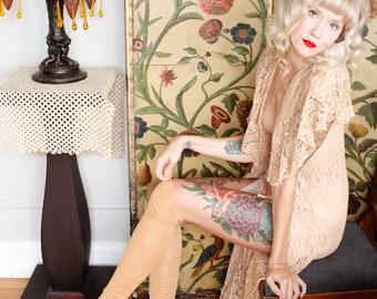1930s Thigh high Stockings // Beige Nude Cotton Hosiery // vintage 30s hosiery
