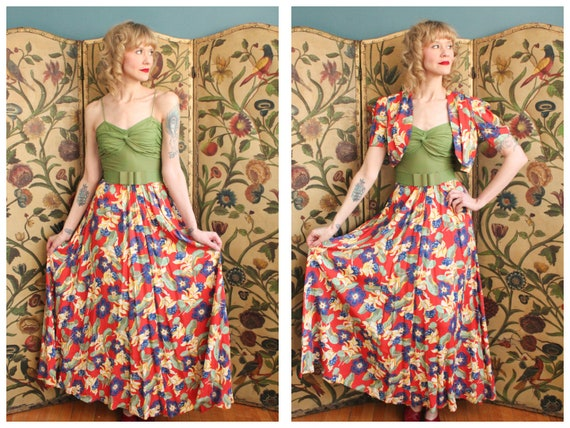 1940s Dress // Tropical Floral Cold Rayon Gown & … - image 1