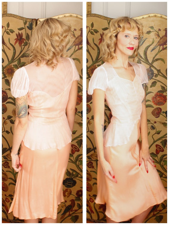 1930s Dress // Peach Pink Mesh Nat Canter Dress //
