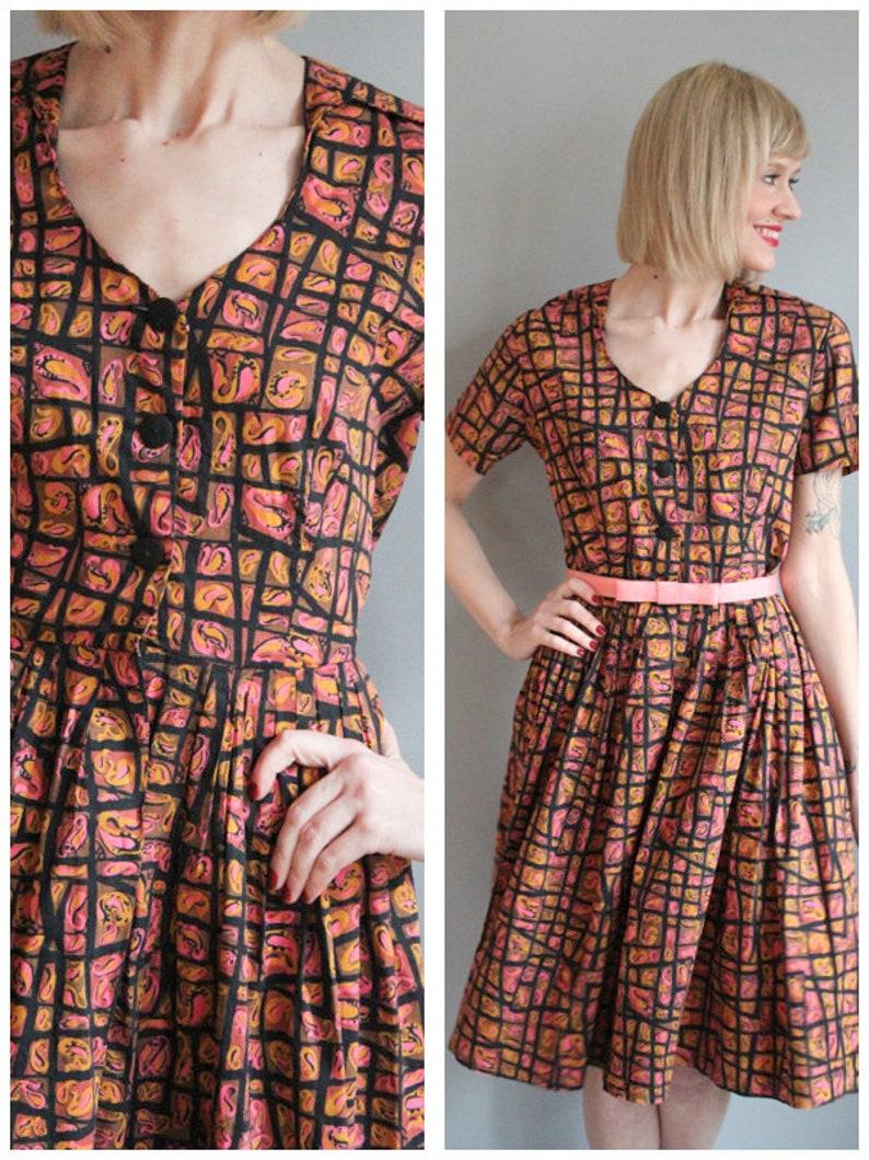 1950s Dress // Abstract Paisley Lynda Lora Dress // vintage image 0
