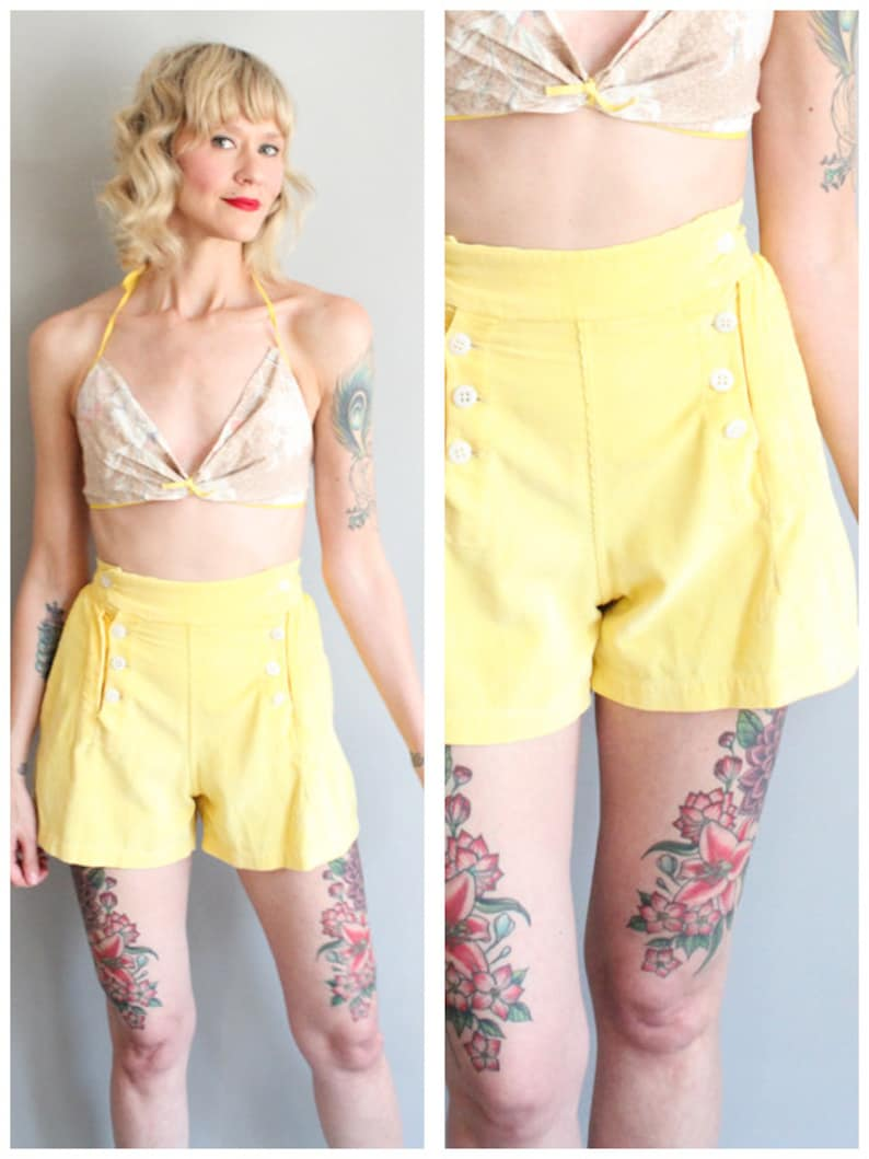 1940s Shorts // Victory Canary Yellow Cotton Cord Shorts // image 0