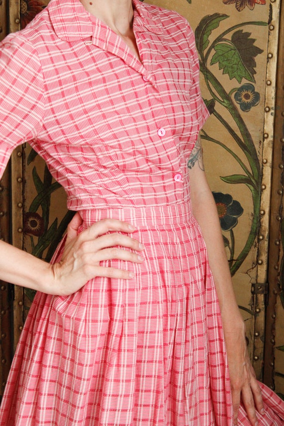 1950s Dress Set // Pink Plaid Cotton Shirt & Skir… - image 9
