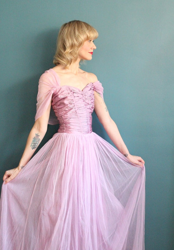 Late 1940s Gown // Debutante Tulle Gown // Vintag… - image 5