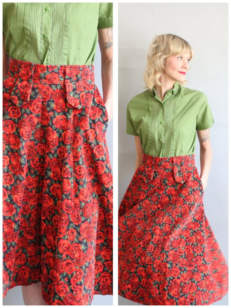1950s Skirt // Red Rose Full Skirt // vintage 50s skirt image 0