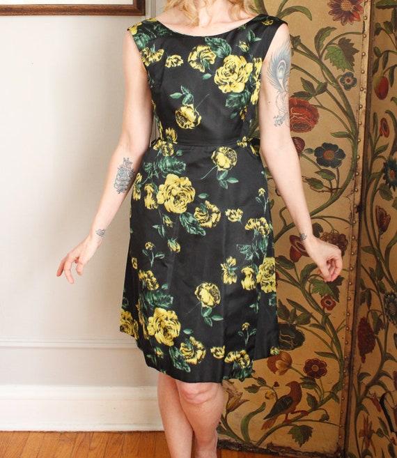 1960s Dress // Garden Party Silk Dress  // vintag… - image 4