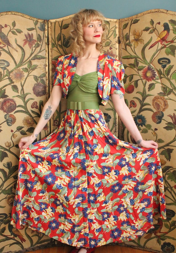 1940s Dress // Tropical Floral Cold Rayon Gown & … - image 4
