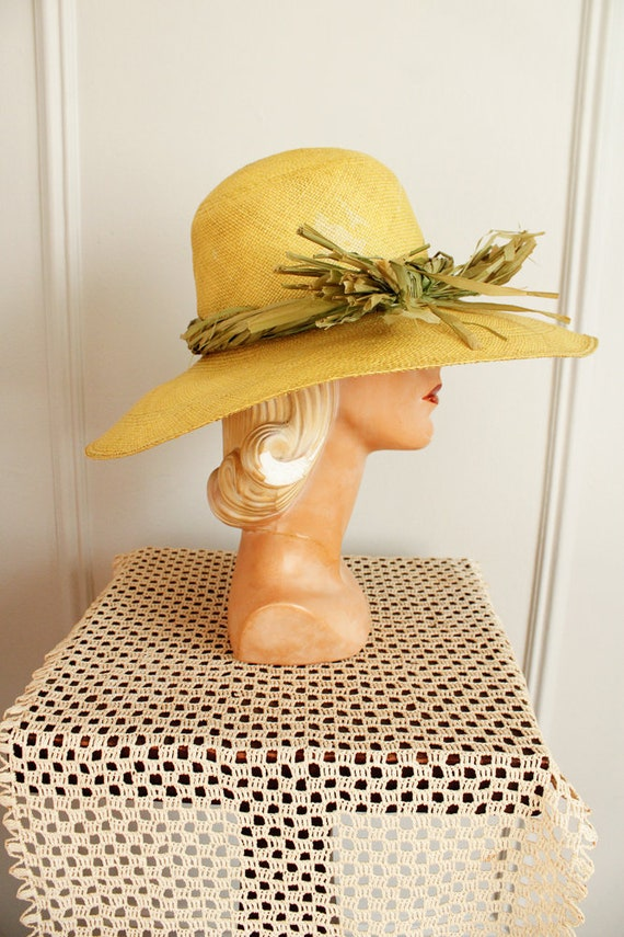 1970s Hat // IMagnin Straw Chartreuse Summer Hat … - image 9