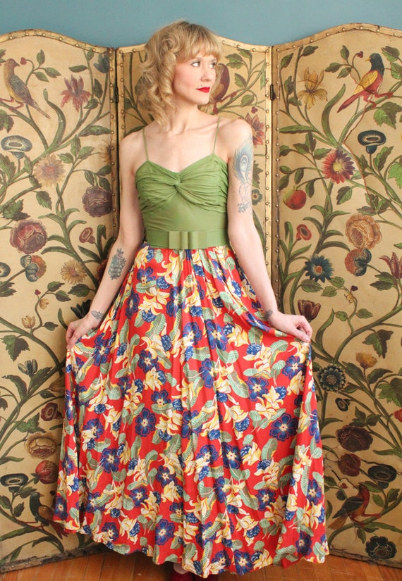 1940s Dress // Tropical Floral Cold Rayon Gown & … - image 7