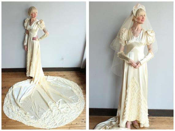 1940s Wedding Gown // Beloved Silk Satin & Lace We