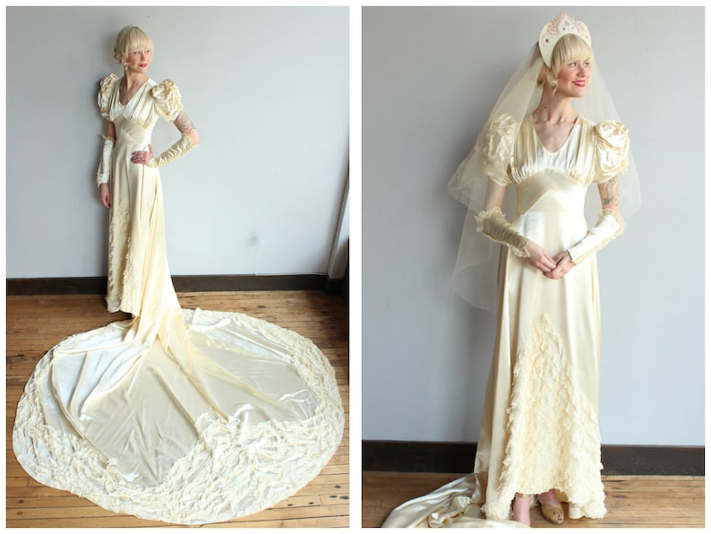 1940s Wedding Gown // Beloved Silk Satin & Lace Wedding Gown image 0