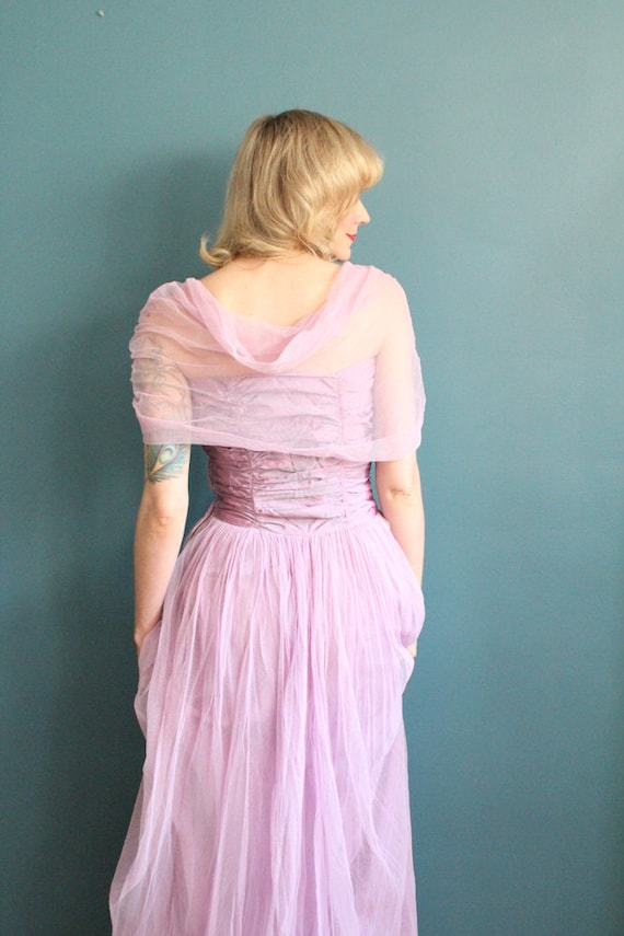 Late 1940s Gown // Debutante Tulle Gown // Vintag… - image 8