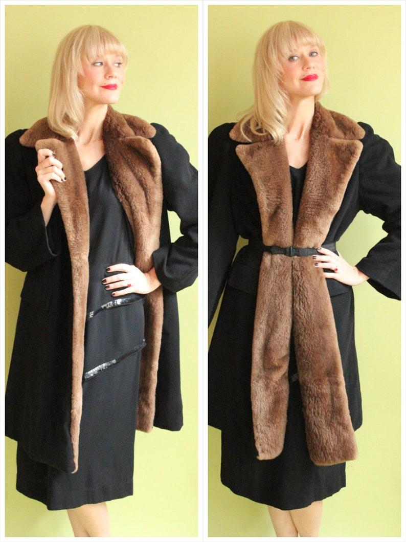 1940s Coat // Tuxedo Box Coat with Shirred Beaver Coat // image 0
