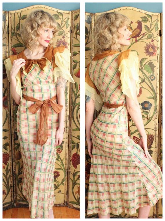 1930s Dress // Spring Plaid Cotton Organdy Dress /