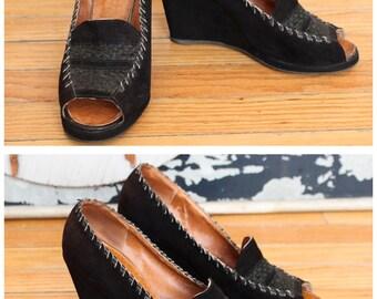 1940s Wedges // Black Suede Peep Toe Wedges // vintage 40s wedges // 8M