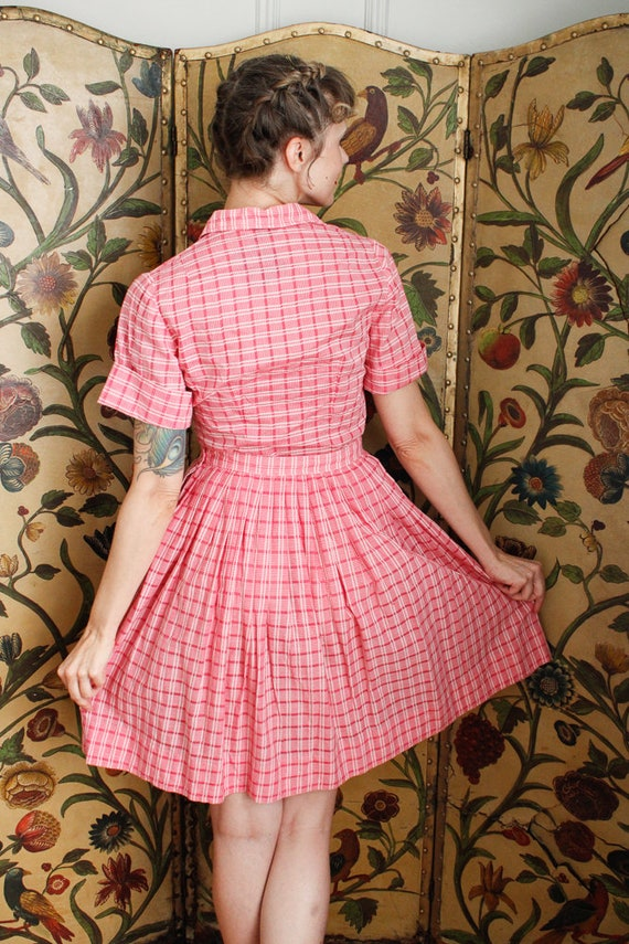 1950s Dress Set // Pink Plaid Cotton Shirt & Skir… - image 6