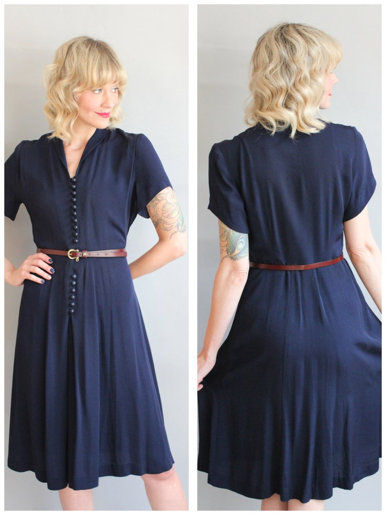 1940s Dress // Murray White Rayon Size by Height Dress // image 0