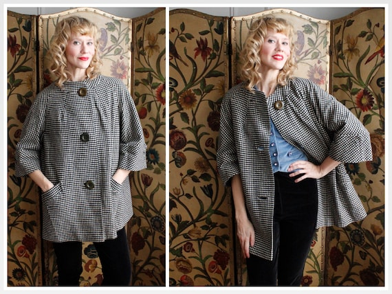 1950s Coat // Houndstooth Wool Coat // vintage 50s