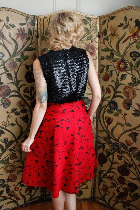 1990s Skirt // Rose Garden Wool Skirt // vintage … - image 6