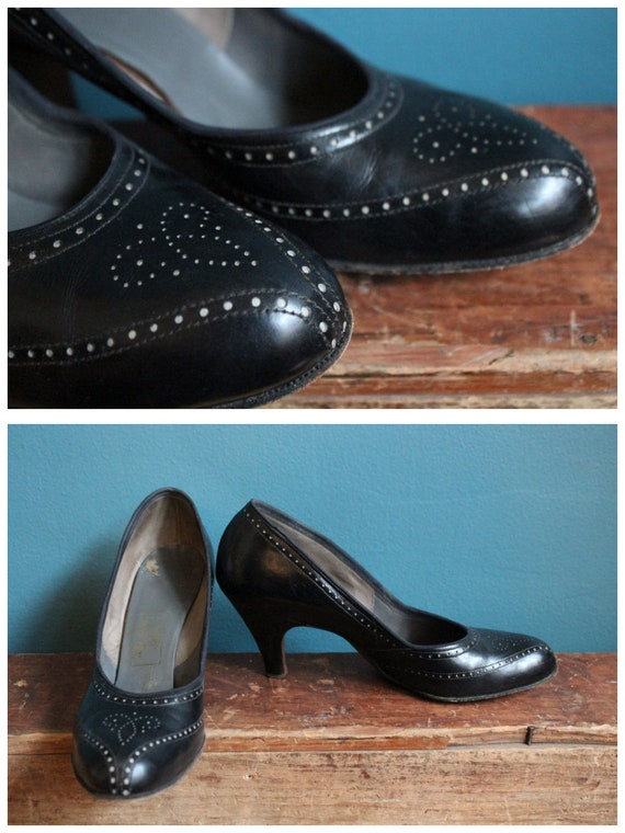 1950s Heels // Red Cross Perforated Leather Heels