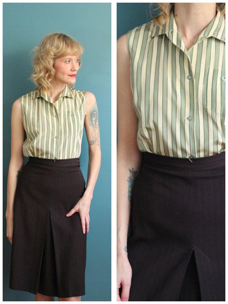 1950s Blouse // Cream & Mint Silk Blouse // vintage 50s blouse image 0