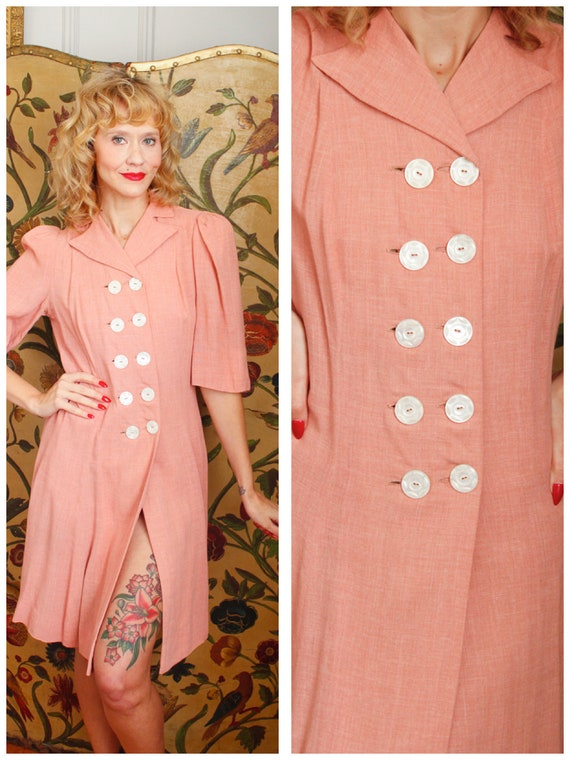 1940s Dress // Pink Gertrude Wool Dress // vintage