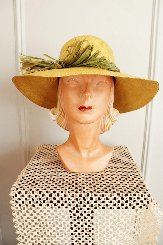 1970s Hat // IMagnin Straw Chartreuse Summer Hat … - image 5