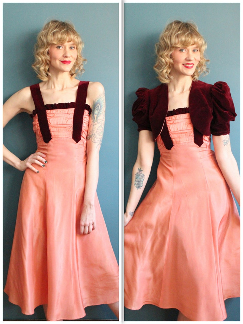 1940s Dress // Junior Taffeta and Velvet Party Dress // image 0