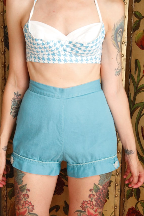 1950s Shorts // Turquoise Queen Twill Shorts // v… - image 3