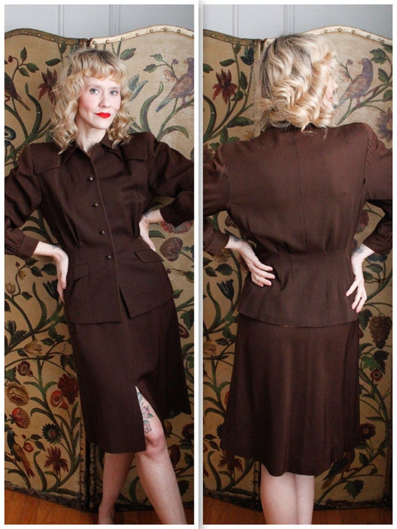 1940s Suit // Sharp Gabardine 2pc Suit // vintage