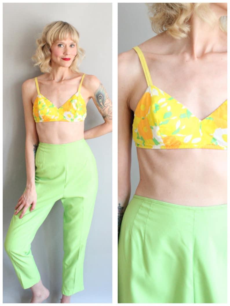 1960s Bikini Top // Bright Floral Sun Top // vintage 60s sun image 0
