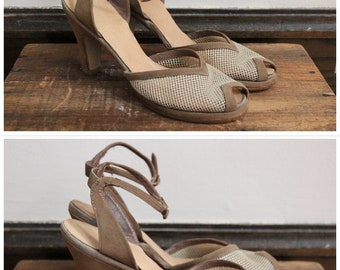 1940s Shoes // Tan Woven Peep Toe Heels  // vintage 40s heels
