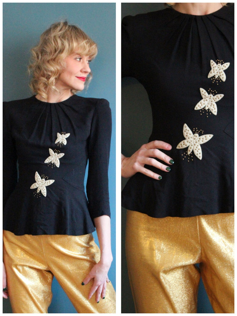 1940s Blouse // Butterfly Rayon Blouse // vintage 40s blouse image 0
