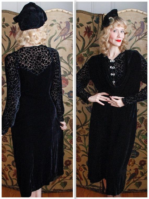 Reserved // 1930s Dress // Shadow Secret Velvet Dr