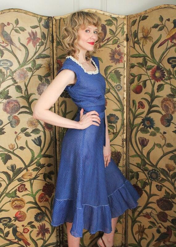 1930s Dress // Swiss Dot Cerulean Cotton Dress //… - image 6