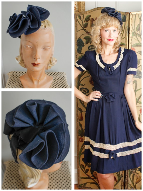 1930s Tilt Hat // Blue Skies Petal Tilt Hat // vin