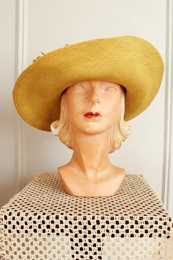 1970s Hat // IMagnin Straw Chartreuse Summer Hat … - image 4