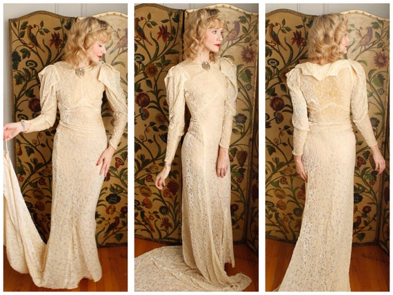 1930s Wedding Gown // Bewitching Silk Velvet Weddi