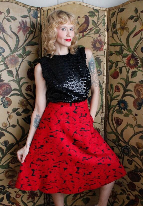 1990s Skirt // Rose Garden Wool Skirt // vintage … - image 2