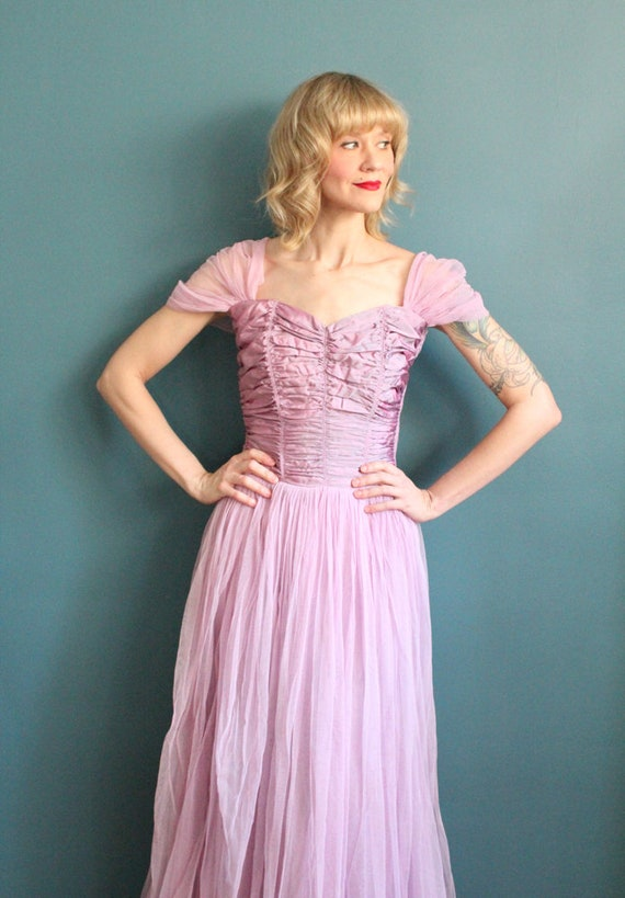Late 1940s Gown // Debutante Tulle Gown // Vintag… - image 4