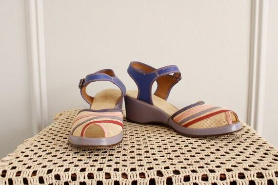 1940s Wedges // Summer Woven Sandals // vintage 4… - image 4