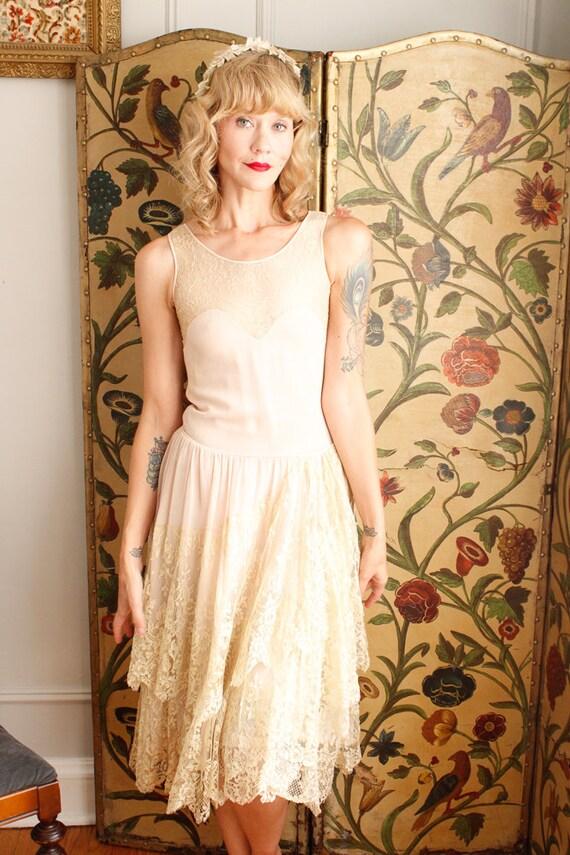 1920s Dress // Chiffon and Lace Wedding Dress // … - image 10