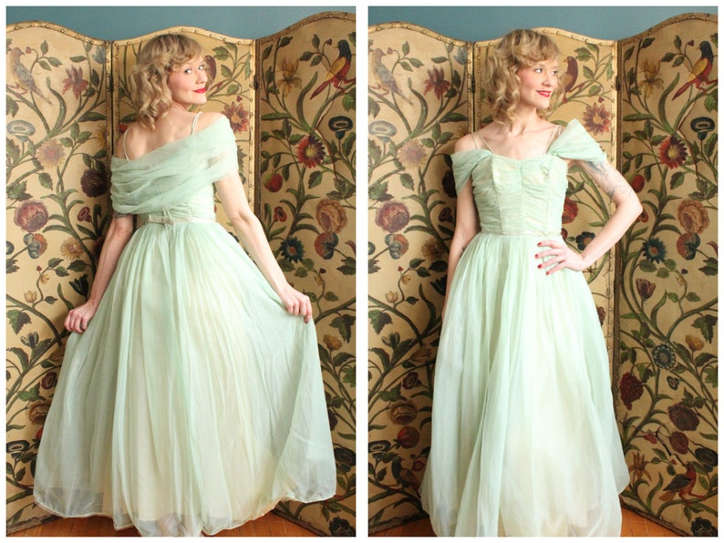 1950s Gown // Harmony Green Princess Gown // vintage 50s gown image 0