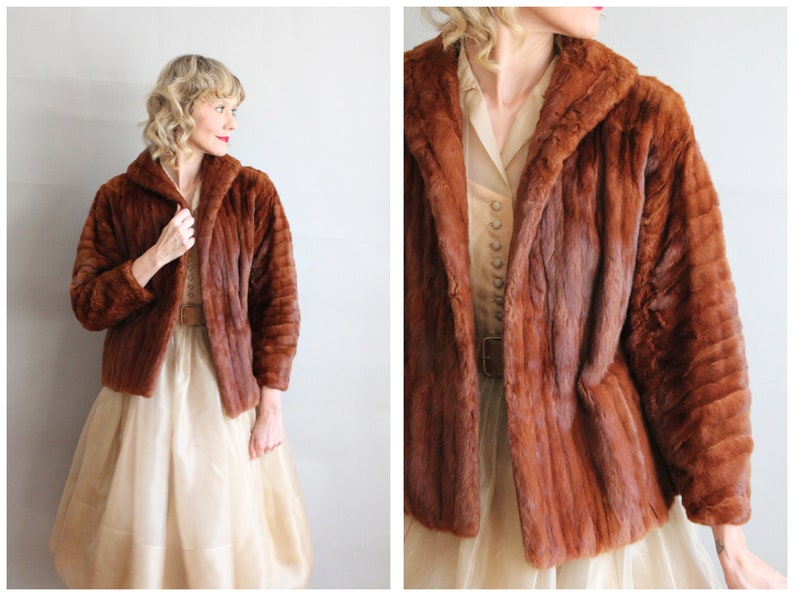 1940s Coat // Muskrat Fur Box Coat // vintage 40s fur coat image 0