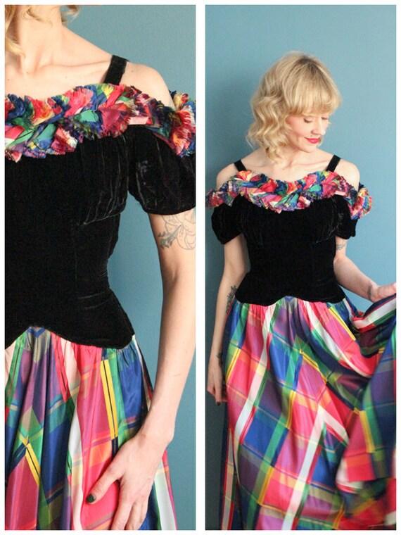 1930s Gown // Silk Velvet & Jewel Taffeta Gown //